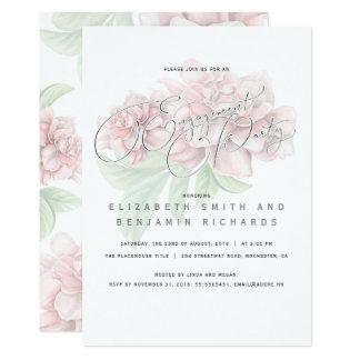 Elegantes rosa Blumentypographie-Verlobungs-Party 12,7 X 17,8 Cm Einladungskarte