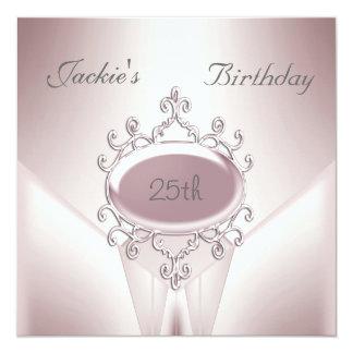 Elegantes Rosa laden 25. Geburtstags-Party ein Quadratische 13,3 Cm Einladungskarte