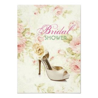 elegantes rosa Vintages Schuh mit BlumenBrautparty Karte