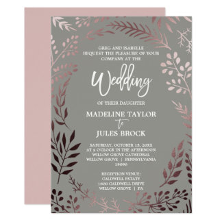 Elegantes Rosen-Gold und formale Hochzeit des 12,7 X 17,8 Cm Einladungskarte