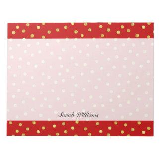 Elegantes Rot-und Goldfolieconfetti-Punkt-Muster Notizblock