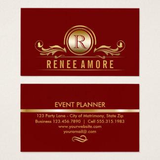Elegantes rotes Gold des Event-Planer-| Visitenkarten