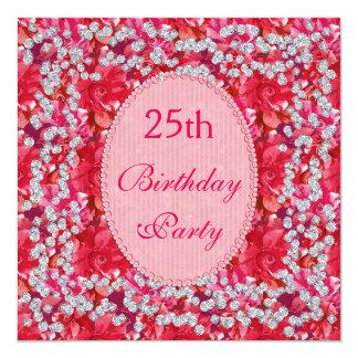 Elegantes Rotes/Rosa mit Blumen u. Diamant-25. Quadratische 13,3 Cm Einladungskarte