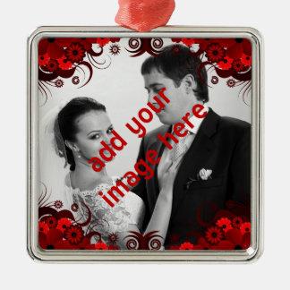 Elegantes rotes und weißes silbernes ornament