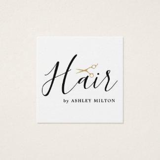 Elegantes sauberes Weiß Scissors Haar-Stylisten Quadratische Visitenkarte