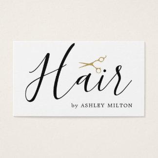 Elegantes sauberes Weiß Scissors Haar-Stylisten Visitenkarte