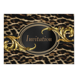 Elegantes Schwarz-und Goldleopard-Party 12,7 X 17,8 Cm Einladungskarte