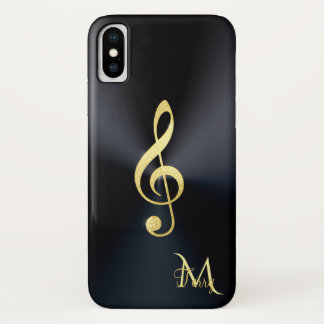 Elegantes schwarzes Goldmusikclef-Monogramm iPhone X Hülle