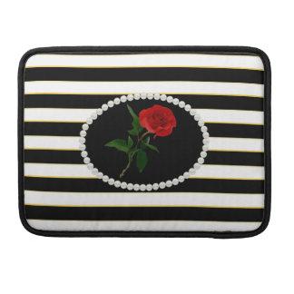 Elegantes Schwarzes Stripes Rote Rose Macbook Sleeve Für MacBook Pro