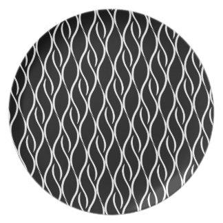 Elegantes Schwarzweiss-Muster Flache Teller