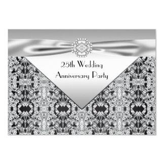 Elegantes silberne Hochzeits-Jahrestags-Party 12,7 X 17,8 Cm Einladungskarte