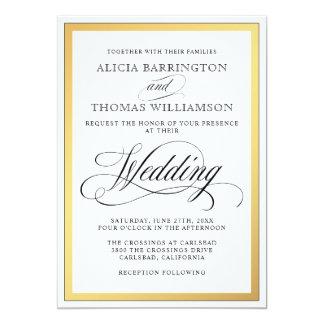 Elegantes Skript blüht Hochzeit 12,7 X 17,8 Cm Einladungskarte