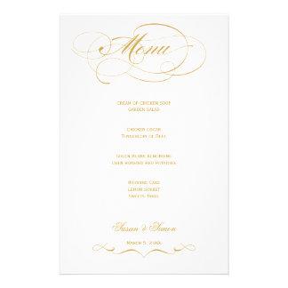 Elegantes Skript-Hochzeits-Menü - Gold Druckpapiere