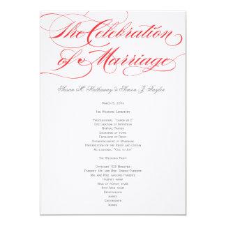 Elegantes Skript-Hochzeits-Programm - Rot 12,7 X 17,8 Cm Einladungskarte