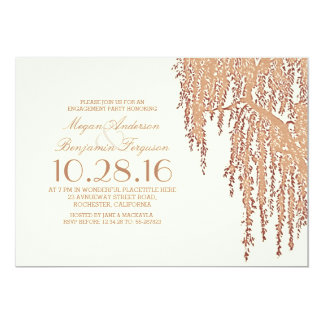 Elegantes Verlobungs-Party des Weidebaums im 12,7 X 17,8 Cm Einladungskarte