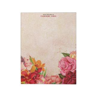 Elegantes Vintages Blumen| Vintages Papier | bunt Schmierblock