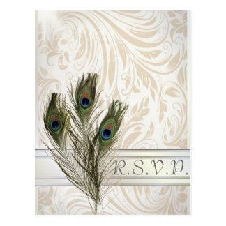 elegantes Vintages Damastpfau-Hochzeit UAWG Postkarte