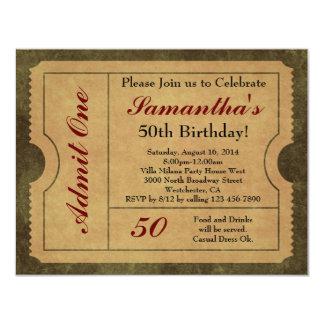 Elegantes Vintages Gold lassen einen 50. 10,8 X 14 Cm Einladungskarte