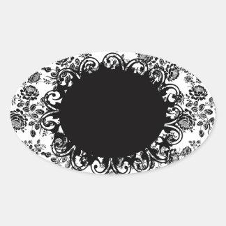 Elegantes Vintages Schwarzweiss-Blumen Ovaler Aufkleber