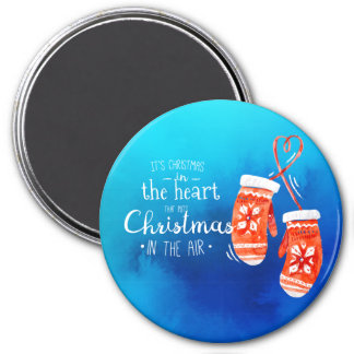 Elegantes Weihnachten im Magneten des Herz-  Runder Magnet 7,6 Cm