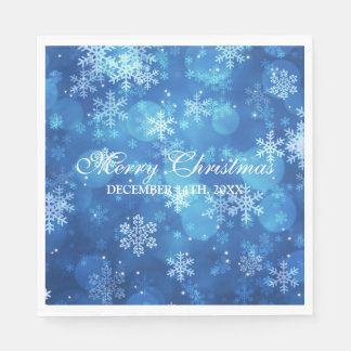 Elegantes Weihnachtsfeiertags-Schein-Blau Papierservietten