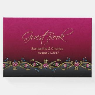Elegantes Wein-Rot-Hochzeits-Gast-Buch Gästebuch
