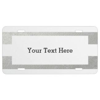 Elegantes Weiß Stripes die silberne gedruckte US Nummernschild