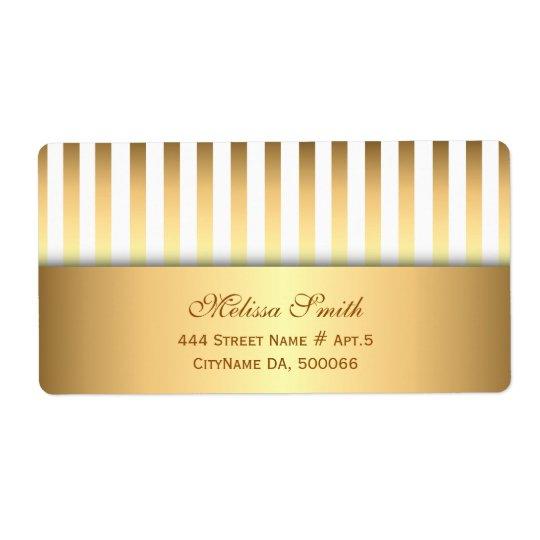 Elegantes Weiß-und Goldstreifen-Muster Versand Aufkleber
