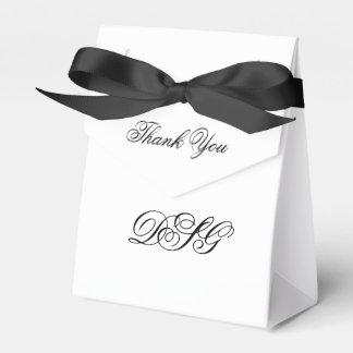 Elegantes weißes und schwarzes Herz blühen danken Geschenkschachteln