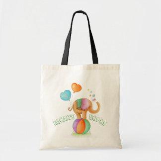 Elephant circus watercolor art name library bag tragetasche