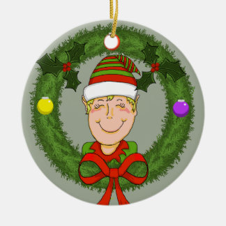 Elf in der Wreath-Keramik-Verzierung Rundes Keramik Ornament