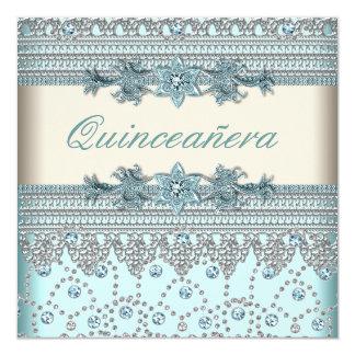Elfenbein aquamarines blaues Quinceanera Quadratische 13,3 Cm Einladungskarte