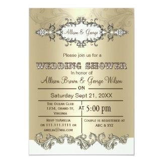 Elfenbein-Goldlädt eleganter Paar-Polterabend ein 12,7 X 17,8 Cm Einladungskarte