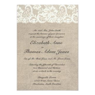Elfenbein-Spitze und Leinwand-Hochzeits-Einladung 12,7 X 17,8 Cm Einladungskarte
