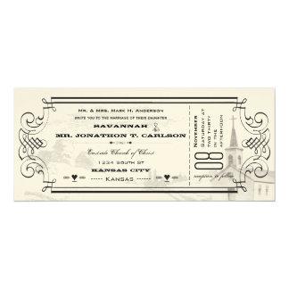 Elfenbein und schwarze 10,2 x 23,5 cm einladungskarte