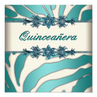 Elfenbeinaquamariner blauer Zebra Quinceanera Quadratische 13,3 Cm Einladungskarte
