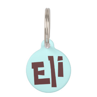 Eli dunkles Brown auf hellblauem Tiermarke
