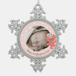 Elmo   Babys Erstes Weihnachten Schneeflocken Zinn-Ornament
