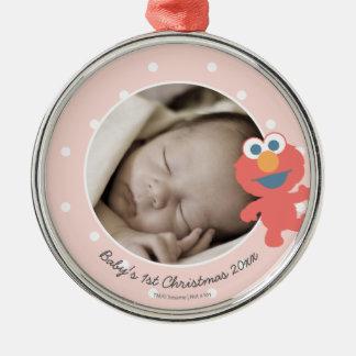Elmo   das erste Weihnachten Babys - addieren Sie Silbernes Ornament