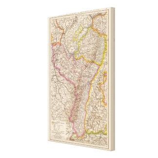 ElsassLothringen, Bayerische Pfalz Atlas-Karte Leinwand Druck