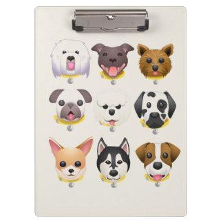 Emoji Hund stellt Hintergrund gegenüber Klemmbrett