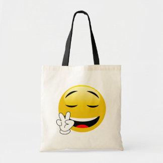 Emoji mit den Friedenszeichen-Händen Budget Stoffbeutel