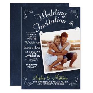 Empfangs-Einladung der Tafel-| Wedding des Foto-| Karte