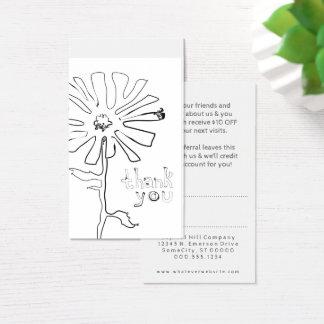 Empfehlung danken Ihnen Squiggle-Blume Visitenkarte