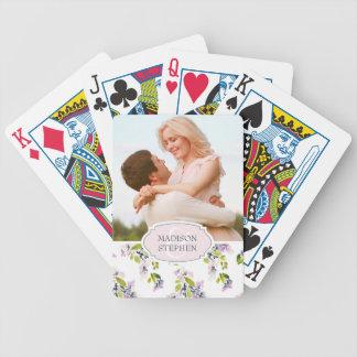 Empfindlicher BlumenWatercolor - Hochzeits-Foto Poker Karten