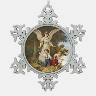 Engel auf Klippe mit Kindern Schneeflocken Zinn-Ornament