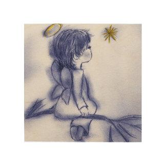 Engel, der auf einem Stern - blaue Tönung wünscht Holzdruck