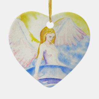 Engel, der die Planeten-Herz-Verzierung heilt Keramik Herz-Ornament