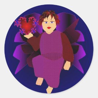 Engel der Herzen Runder Sticker