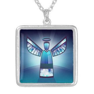 Engel im blauen Buntglas Versilberte Kette